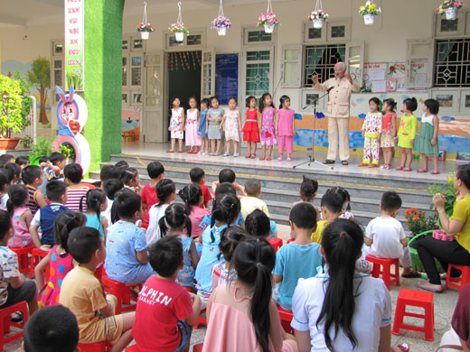 Uncle Ho's image illustrated in Hoa Dua pre-school in Ben Tre city. (Photo: bentre.gov.vn)