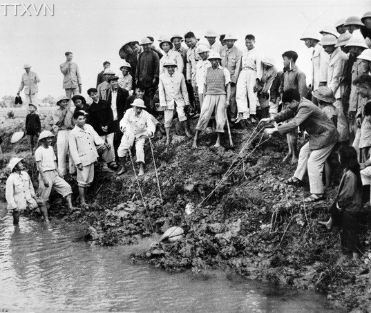 President Ho Chi Minh bailed out water in Quang To field, Dai Thanh commune, Ha Tay province (Hanoi at present) in 1958.
