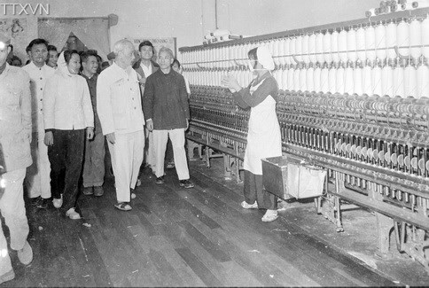 President Ho Chi Minh visited March 8th (8-3) textile factory in 1965.